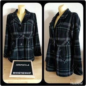 • Aeropostale • Plaid Pea Coat